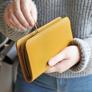 Large Zip Around Wallet in Mustard Yellow