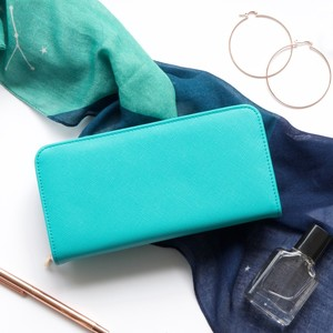 Large Zip Around Wallet in Turquoise