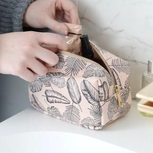 Pink Palm Print Box Make Up Bag