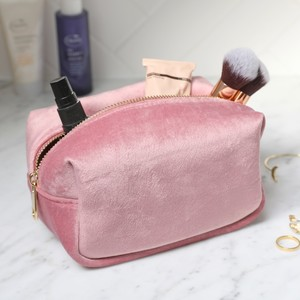 Velvet Box Make Up Bag in Blush Pink