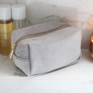 Velvet Box Make Up Bag in Grey