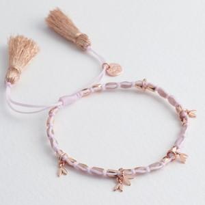 Beaded Heart Charms Friendship Bracelet in Rose Gold