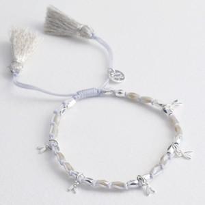 Beaded Heart Charms Friendship Bracelet in Silver
