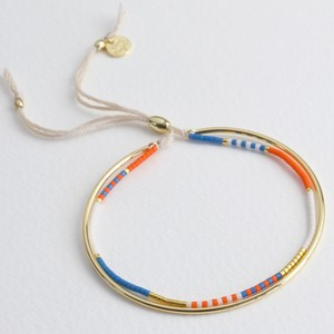 Layered Bangle and Beaded Bracelet in Orange and Gold