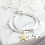 Personalised Beaded Bar and Chain Bracelet