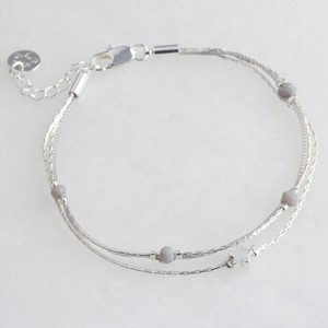 Star Bead Double Strand Bracelet in Silver