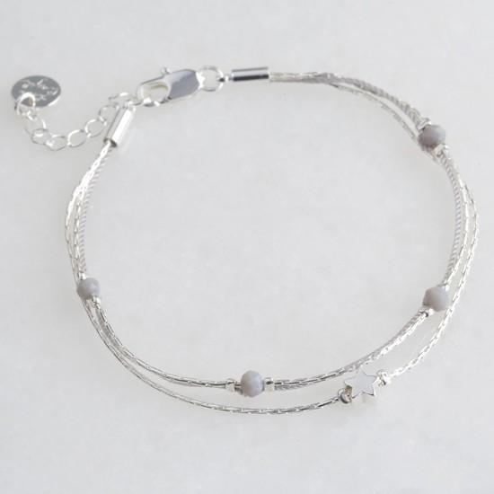 Star Bead Double Strand Bracelet in Silver