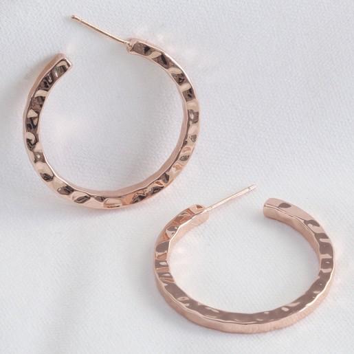 Large Hammered Rose Gold Hoop Earrings Lisa Angel
