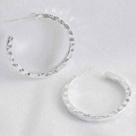 c4a69dc7e Large Hammered Silver Hoop Earrings | Jewellery | Lisa Angel