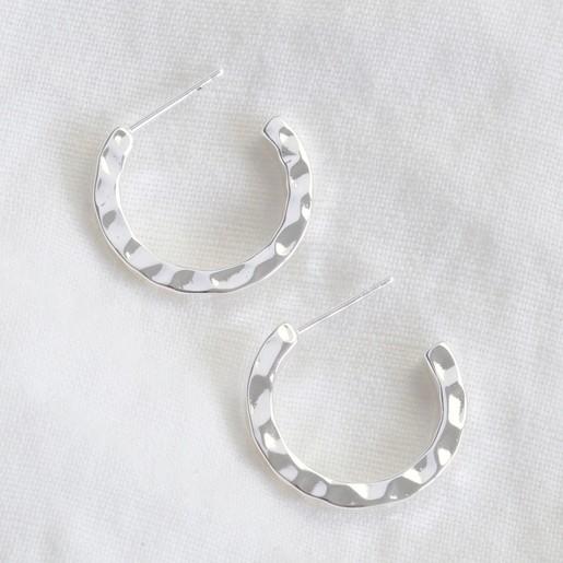 9940b1667 Small Hammered Silver Hoop Earrings | Jewellery | Lisa Angel