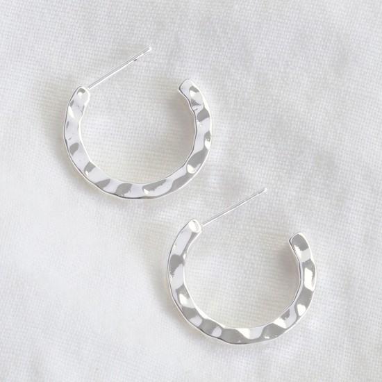 Small Hammered Silver Hoop Earrings