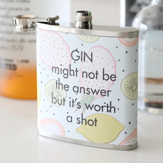 Fruity 'Gin is Worth a Shot' Hip Flask