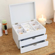 Lisa Angel Large Personalised Initials Jewellery Box with Drawers in Grey
