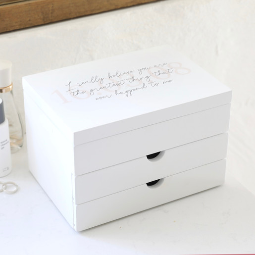 Personalised Message Jewellery Box With Drawers In White