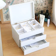 Inside of Personalised Name Grey Triple Drawer Jewellery Box with Lid