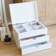 Inside of Personalised Name Triple Drawer Jewellery Box with Lid