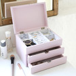 Inside of Personalised Pink Jewellery Box with Drawers