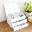 Ladies' Triple Drawer Jewellery Box with Lid in White