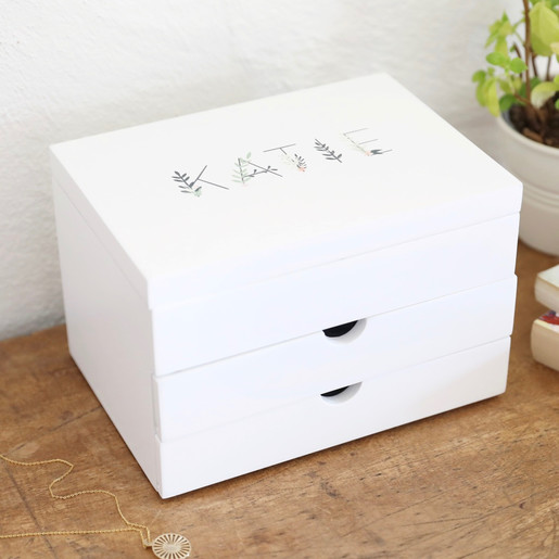 Personalised White Floral Jewellery Box With Drawers