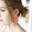 Large Beaded Flowers Drop Earrings in Pink on Model