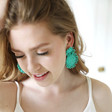 Small Beaded Flowers Drop Earrings in Green on Model