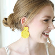 Small Beaded Flowers Drop Earrings in Yellow on Model