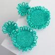 Lisa Angel Ladies' Small Beaded Flowers Drop Earrings in Green
