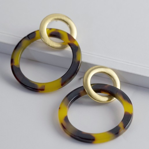 06b0c80e2a3d74 Lisa Angel Ladies' Tortoiseshell Linked Rings Earrings
