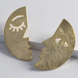 Half Face Drop Earrings in Brushed Gold