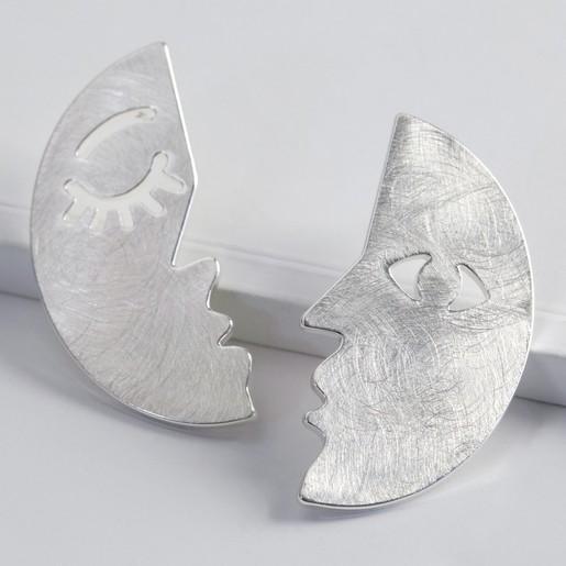 d50b771ff Lisa Angel Ladies' Half Face Drop Earrings in Brushed Silver
