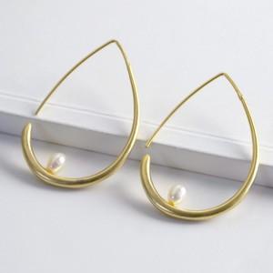 Large Gold Teardrop Pearl Hoop Earrings
