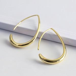 Small Teardrop Hoop Earrings in Gold
