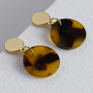 Tortoiseshell Disc Drop Stud Earrings