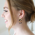 Tortoiseshell Linked Rings Earrings on Model