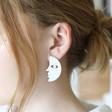 Teens Half Face Drop Earrings in Brushed Silver on Model