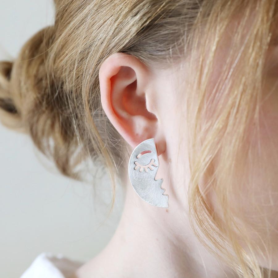 5273326e6 Half Face Drop Earrings in Brushed Silver