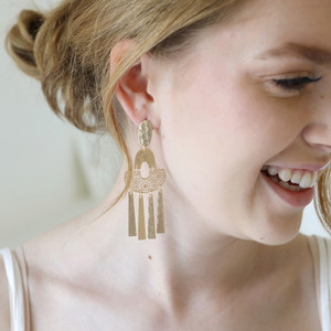 Hammered Gold Filigree Shapes Drop Earrings