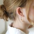 Large Gold Teardrop Pearl Hoop Earrings on Model