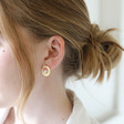 Organic Outline Shape and Pearl Stud Earrings on Model