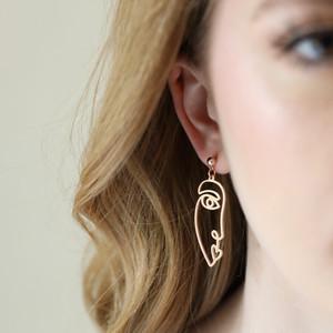 Slim Half Face Drop Earrings in Rose Gold
