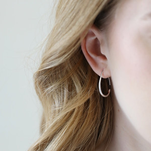 Small Teardrop Hoop Earrings in Silver