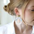 Statement Confetti Oval Drop Earrings on Model