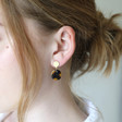 Tortoiseshell Disc Drop Stud Earrings  on Model
