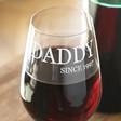 Men's 'Daddy Since' Wine Glass