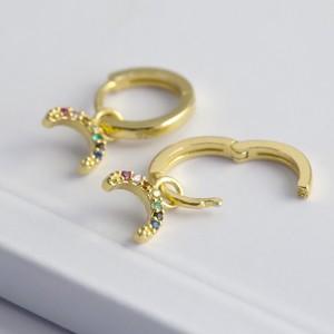 Gold Sterling Silver Crystal Rainbow Huggie Earrings