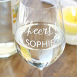 Lisa Angel Personalised 'Cheers!' Wine Glass