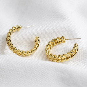 Medium Plaited Hoops in Gold