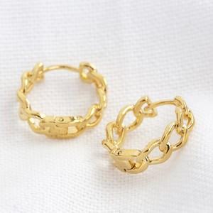 Chain Huggie Hoop Earrings in Gold