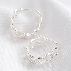 Chain Huggie Hoop Earrings in Silver