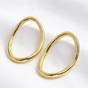 Curved Oval Hoop Drop Earrings in Gold